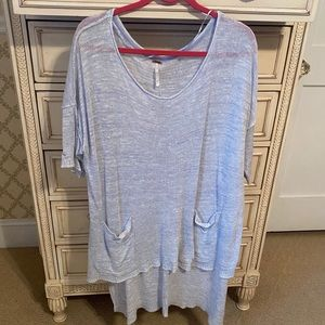 Free People Blue Oversized High Low Knit Tunic Top